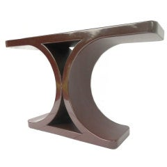 "Karl Springer ""JMF"" Console Table in a rare deep burgundy plum"