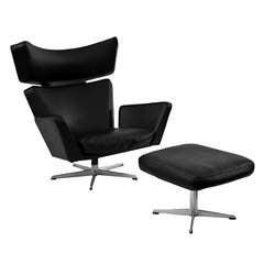 """""""Ox""""-Stuhl mit Ottomane von Arne Jacobsen für Fritz Hansen"""