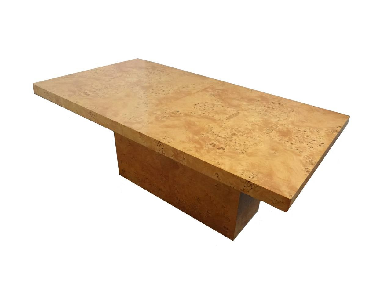 Milo baughman bird s eye maple burl wood dining table by