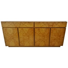 Four-Door Mid-Century Modern Burl Wood Lane Credenza