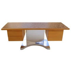 Pedestal Executive Desk in the Manner of Warren Platner