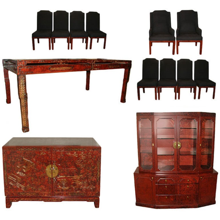 John widdicomb asian modern dining set table chairs buffet for Oriental dining room furniture for sale
