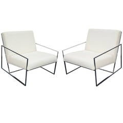 Pair of Midcentury Chrome Lounge Chairs