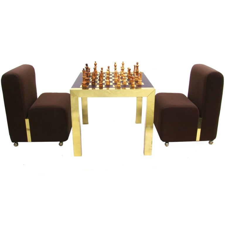 Rare paul evans modern chess set with game table and for Contemporary game table and chairs