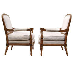 Pair of French Side Armchairs with Rosettes
