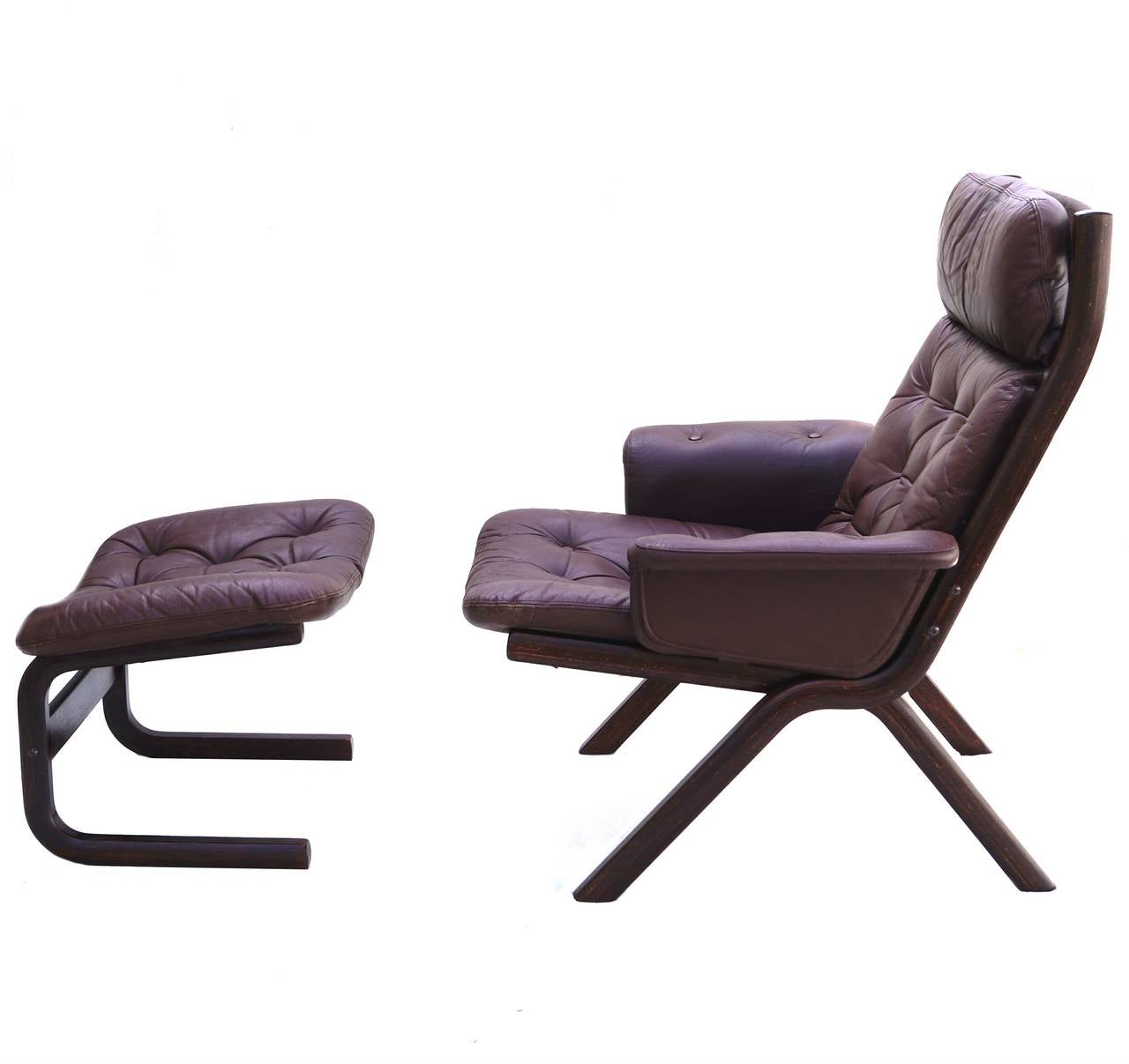 Modern sling chairs - Danish Modern Leather Sculptural Sling Lounge Chair And Ottoman 3