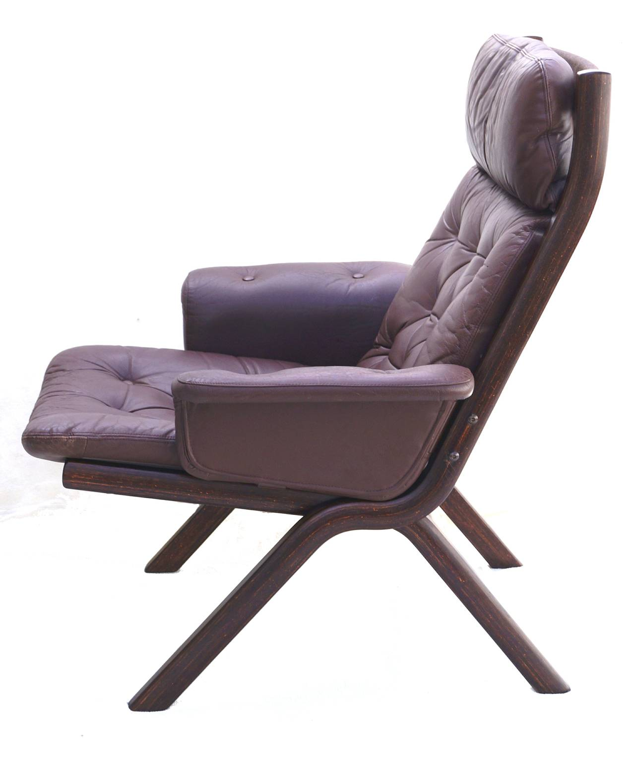 Danish modern leather sculptural sling lounge chair and for Modern leather chair