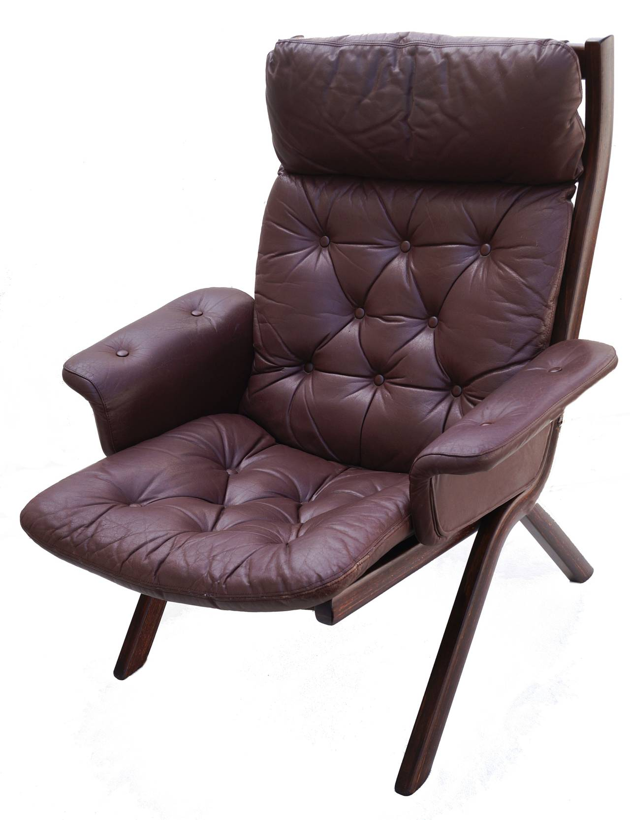 Danish modern leather sculptural sling lounge chair and for Modern leather club chairs
