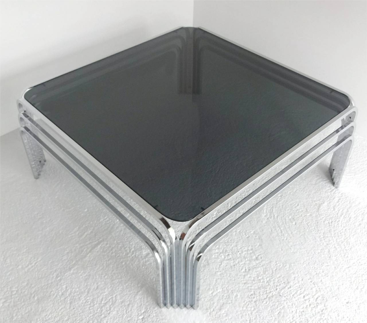 Deco Chrome Coffee Table: Mid-Century Modern Chrome Art Deco Style Coffee Table At