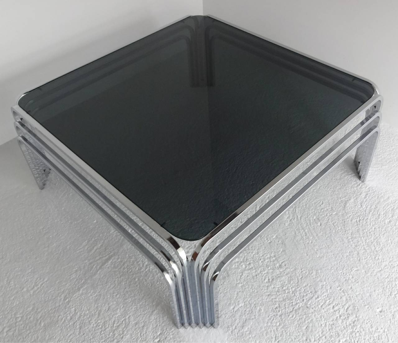 Mid-Century Modern Chrome Art Deco Style Coffee Table At