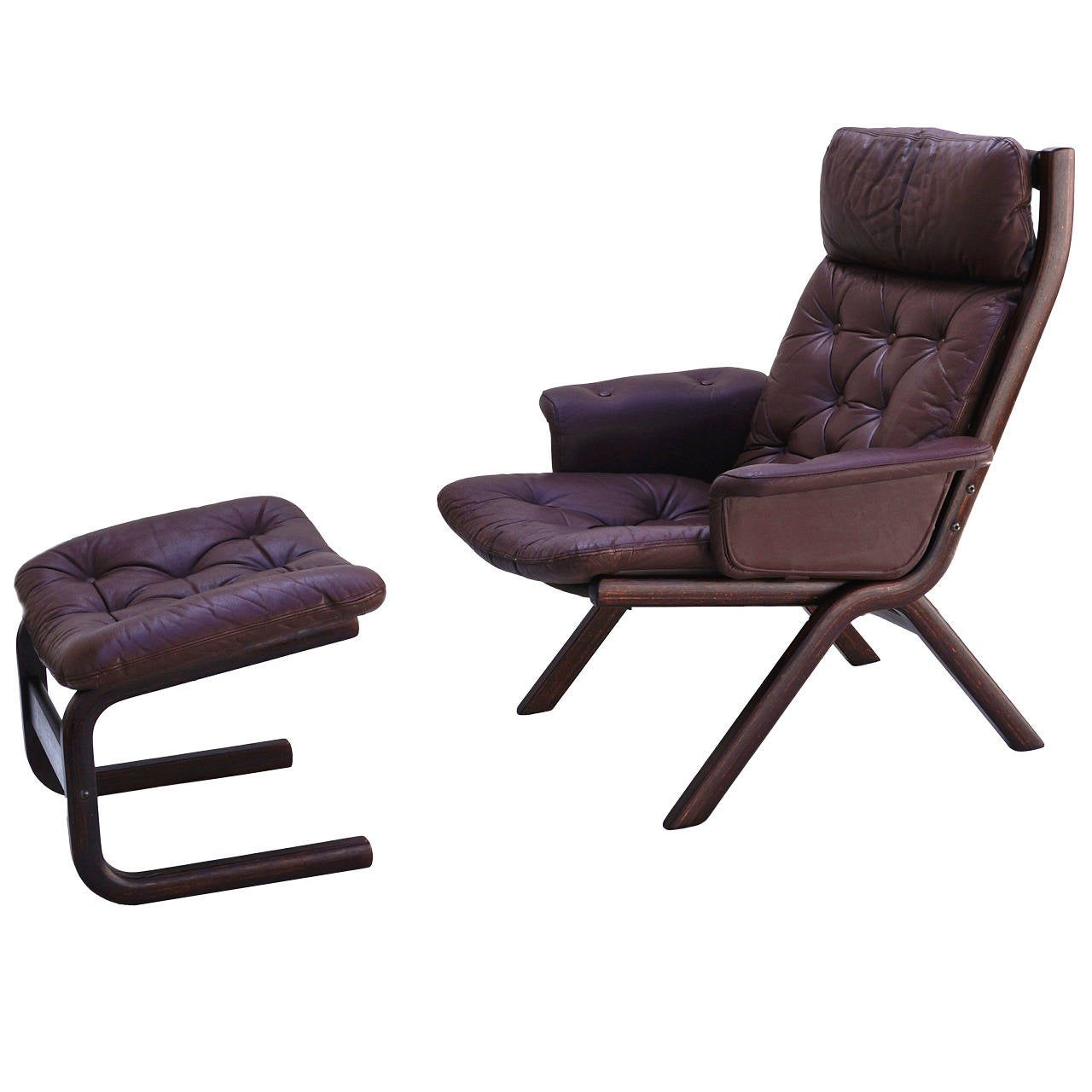 Danish Modern Leather Sculptural Sling Lounge Chair And