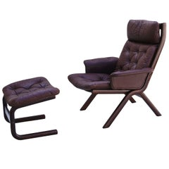Danish Modern Leather Sculptural Sling Lounge Chair and Ottoman