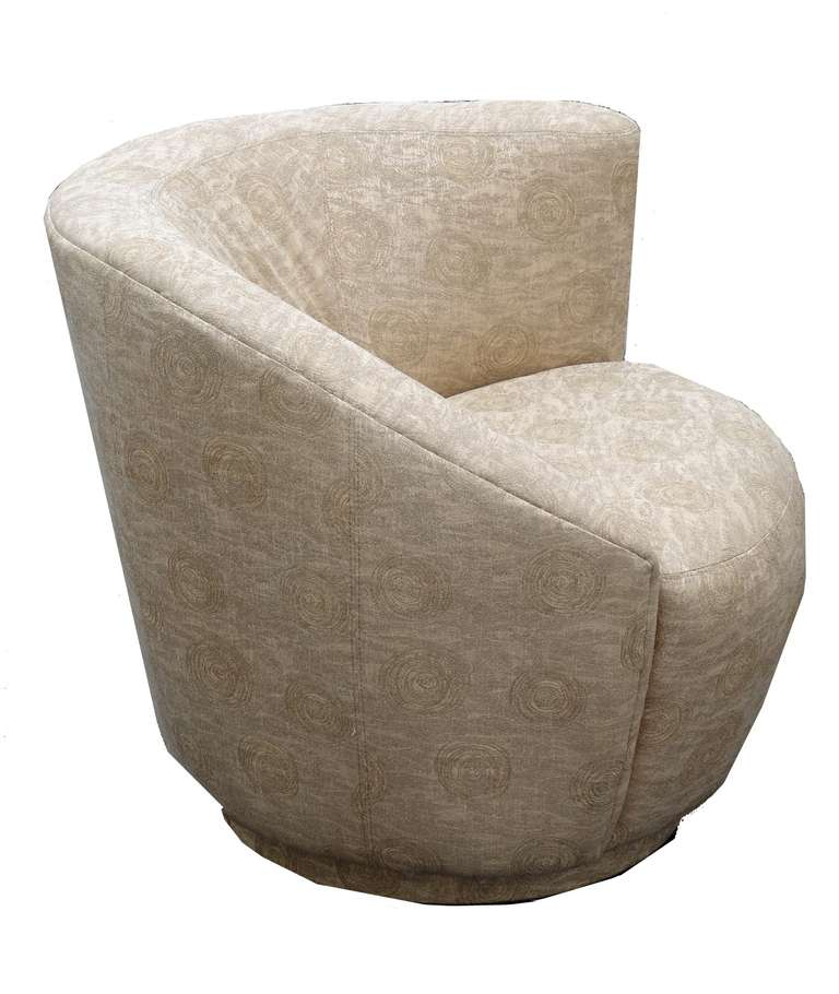 Pair of Contemporary Swivel Lounge Chairs at 1stdibs