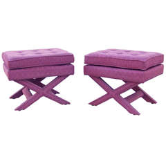 "Pair of Billy Baldwin ""X"" Base Benches"