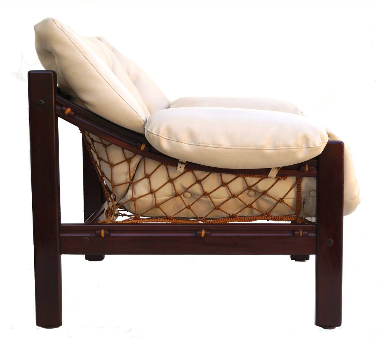 Jean Gillon Leather Sling Lounge Chair at 1stdibs