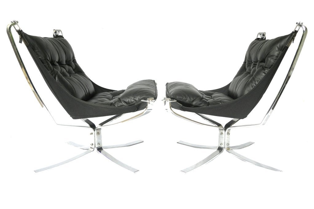 Norwegian Pair Mid-Century Falcon chairs Chrome Leather Sigurd Resell For Sale
