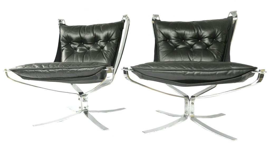 Pair Mid-Century Falcon chairs Chrome Leather Sigurd Resell For Sale 1