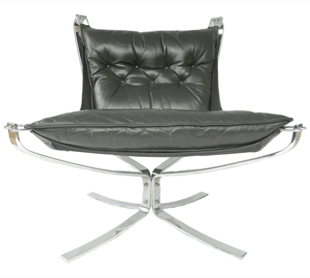 Pair Mid-Century Falcon chairs Chrome Leather Sigurd Resell For Sale 2