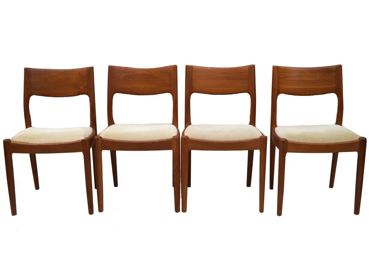 juul kristiansen danish modern teak dining chairs at 1stdibs