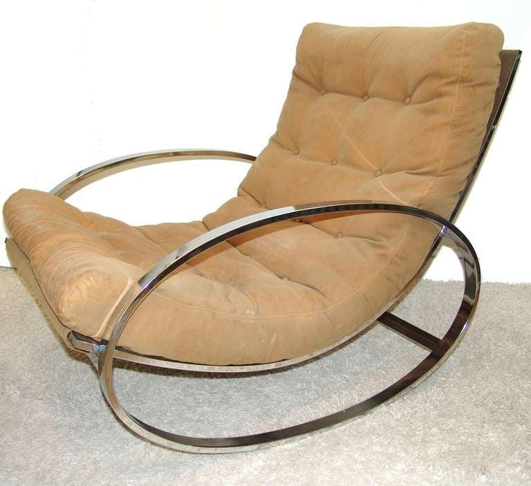 MIlo Baughman Rocker Rocking Chair and Ottoman at 1stdibs