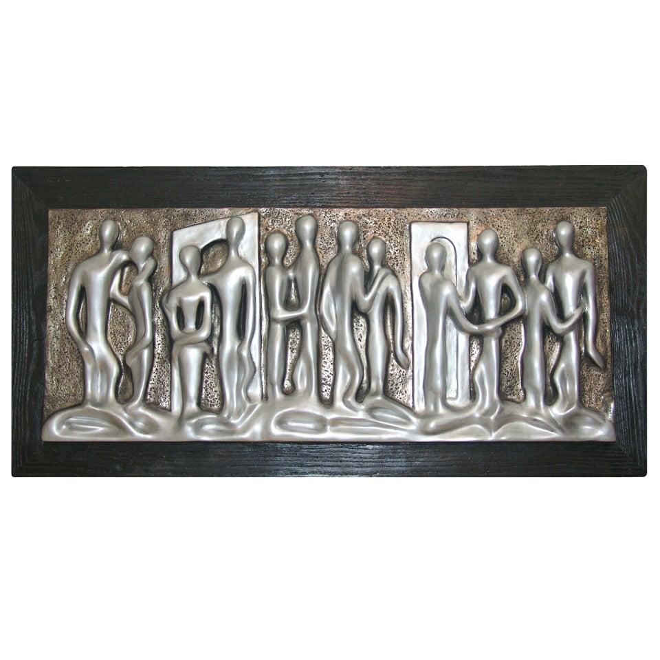 Mid century modern sculptural figure wall art painting by espada at 1stdibs