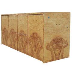 Milo Baughman Modern Burl Wood Credenza Cabinet
