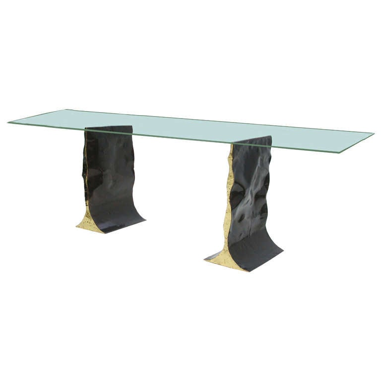 silas seandel modern double pedestal dining table base at 1stdibs