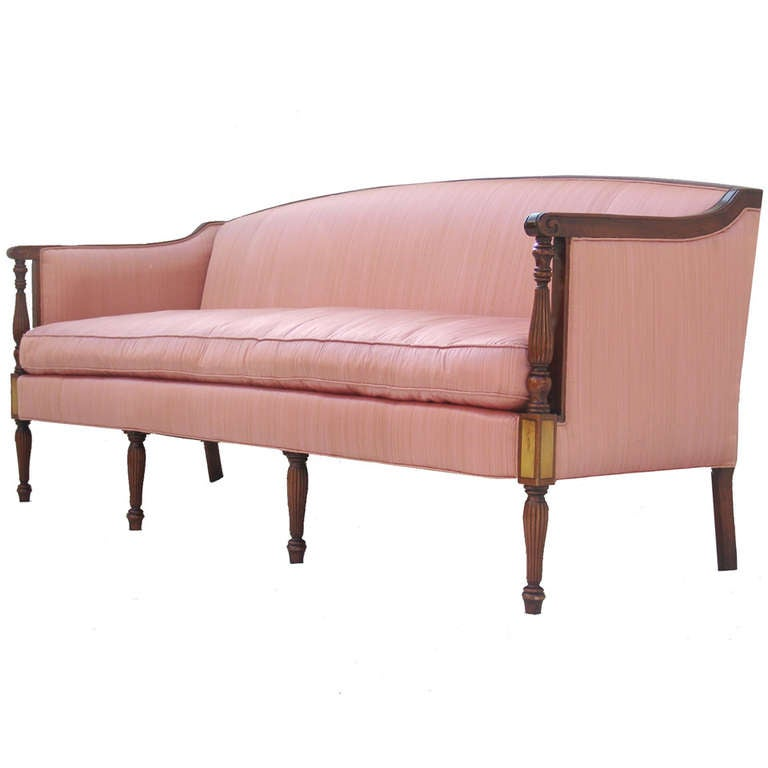 Elegant vintage hollywood regency sheraton sofa at 1stdibs for Vintage sofa