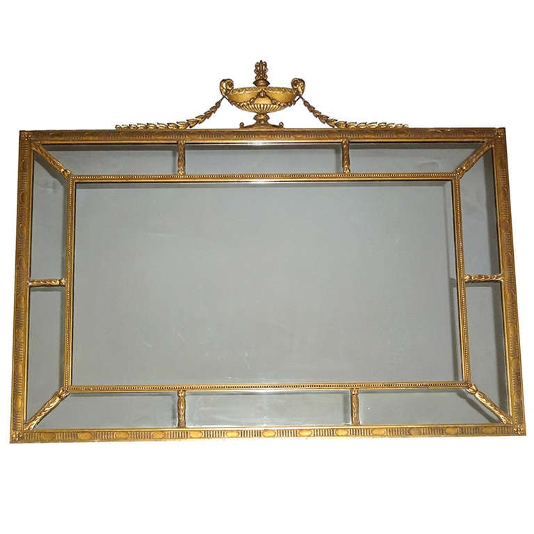 Large adam style hanging wall glass mirror at 1stdibs for Adam style mirror