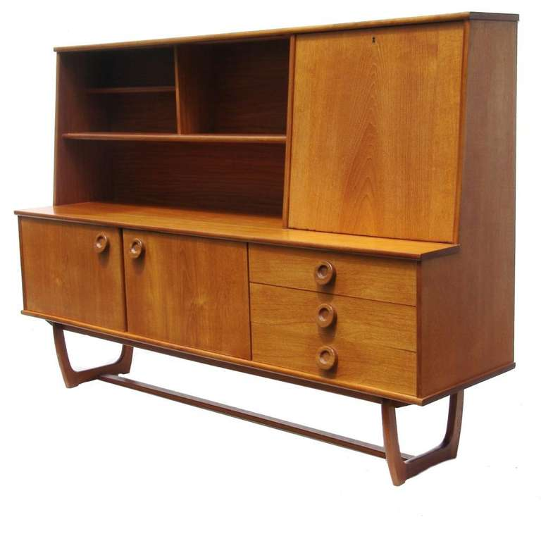 Mid century danish modern credenza buffet sideboard server for Modern buffet table with hutch