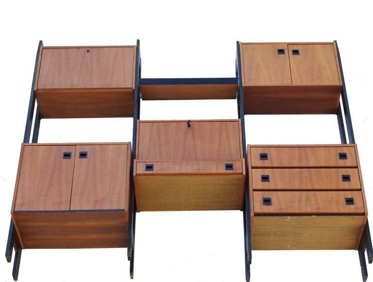 Danish Modern Teak Wall unit room divider shelving unit credenza at