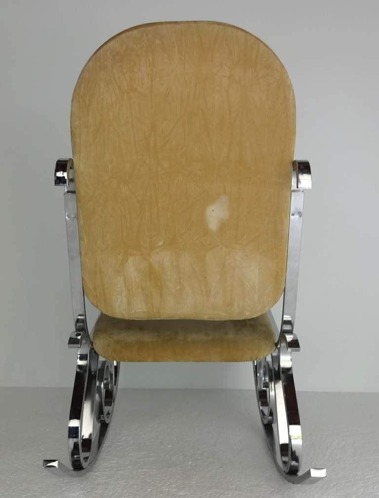 Maison Jansen Chrome Rocker Rocking Chair At 1stdibs