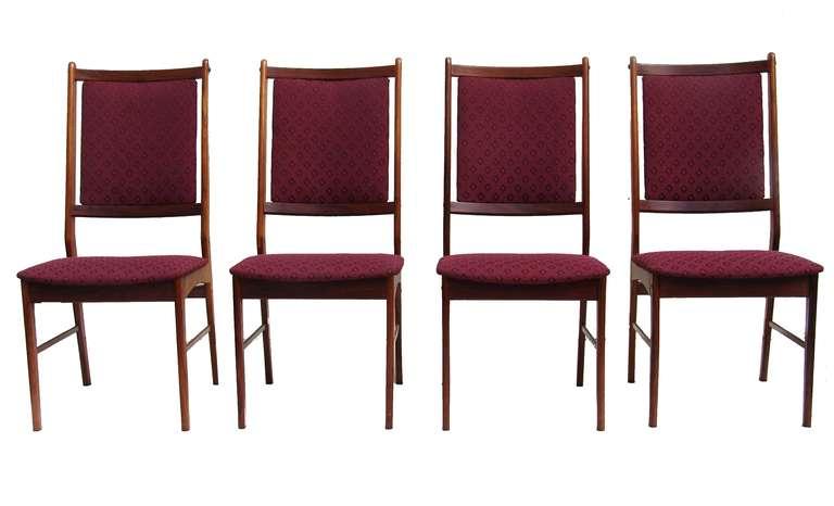six rosewood scandinavian danish modern dining chairs for
