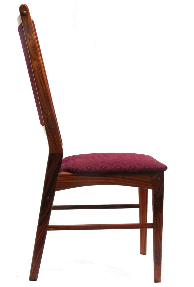 Six rosewood scandinavian danish modern dining chairs at 1stdibs - Scandinavian teak dining room furniture design ...