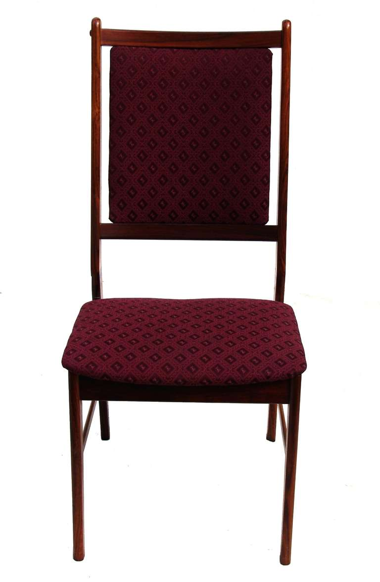 six rosewood scandinavian danish modern dining chairs at