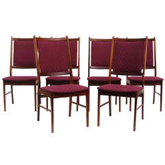 Six Rosewood Scandinavian, Danish Modern Dining Chairs