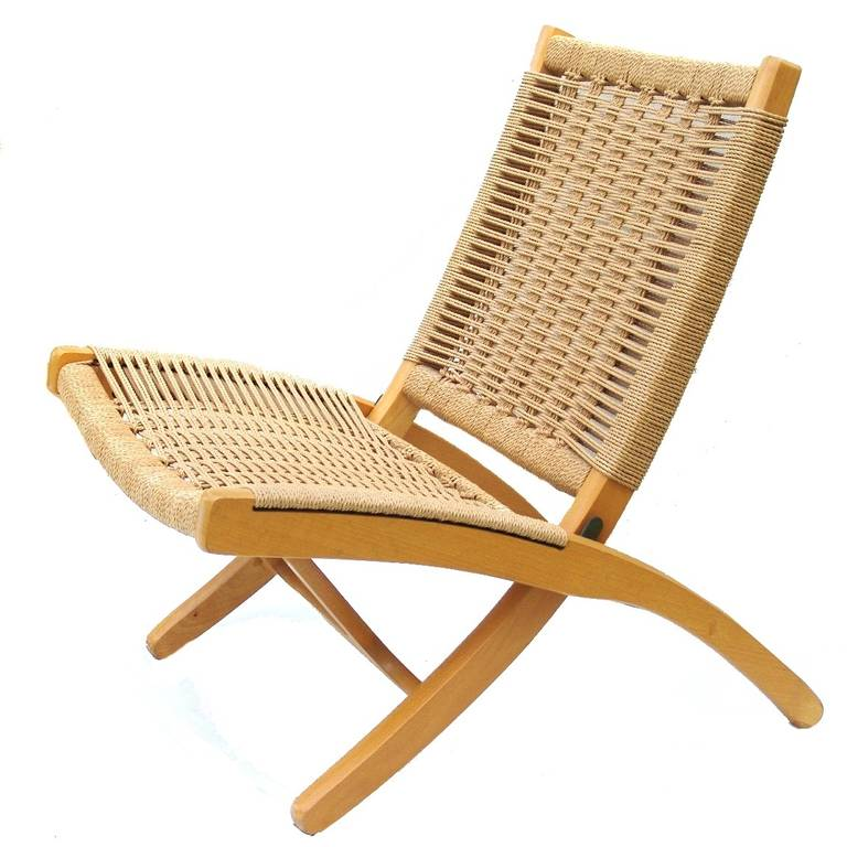 Pair Of Hans Wegner Style Rope Lounge Chairs And Ottomans