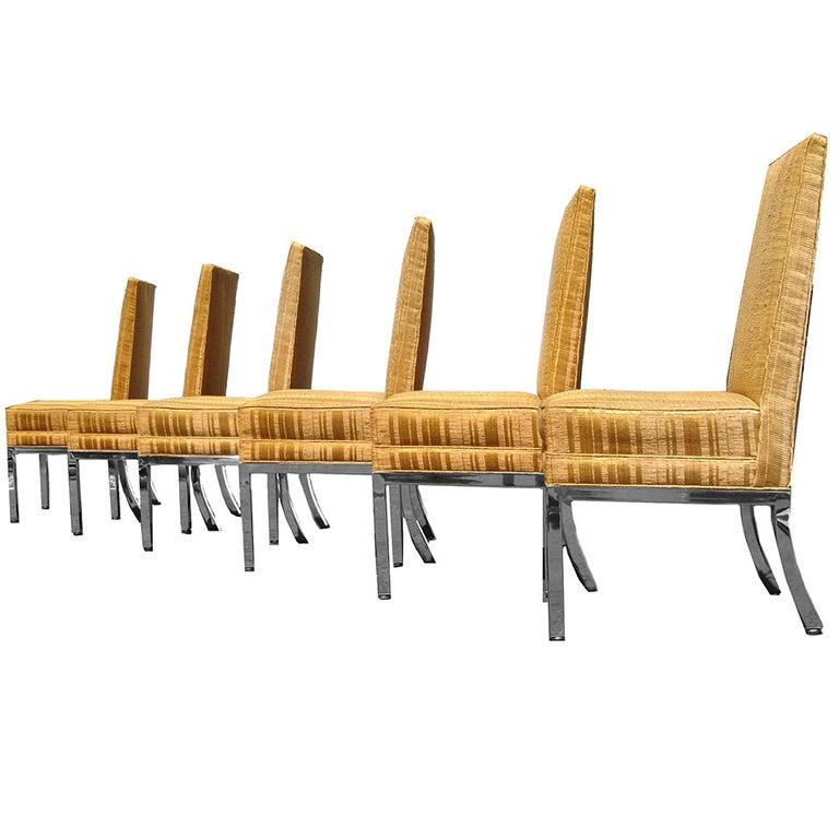 Six Mid-Century Modern Chrome Dining Kitchen Chairs