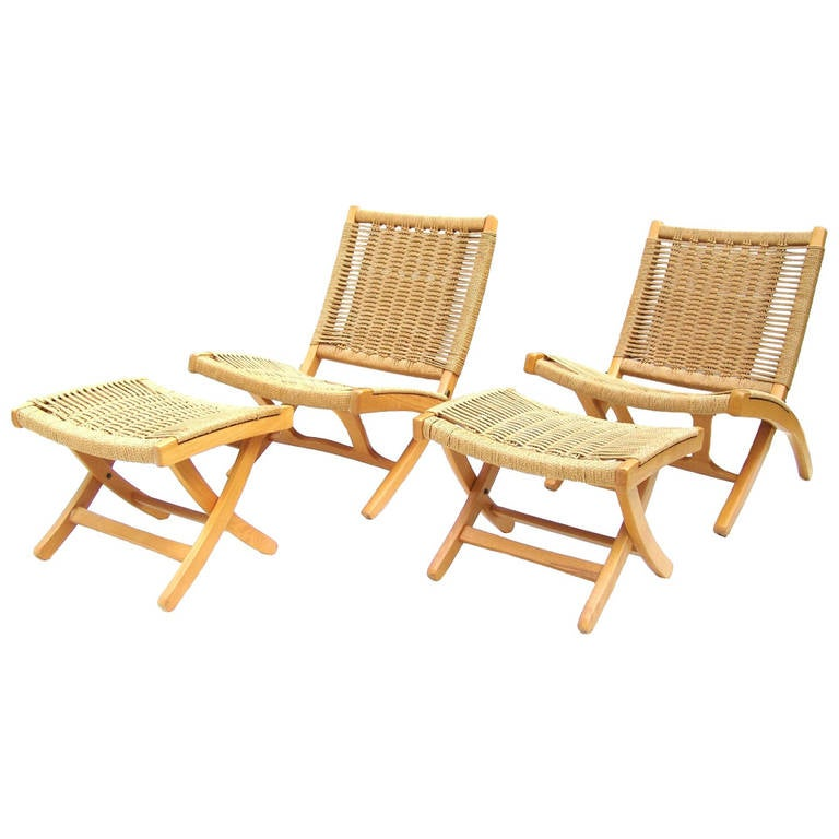 Pair Of Hans Wegner Style Rope Lounge Chairs And Ottomans 1