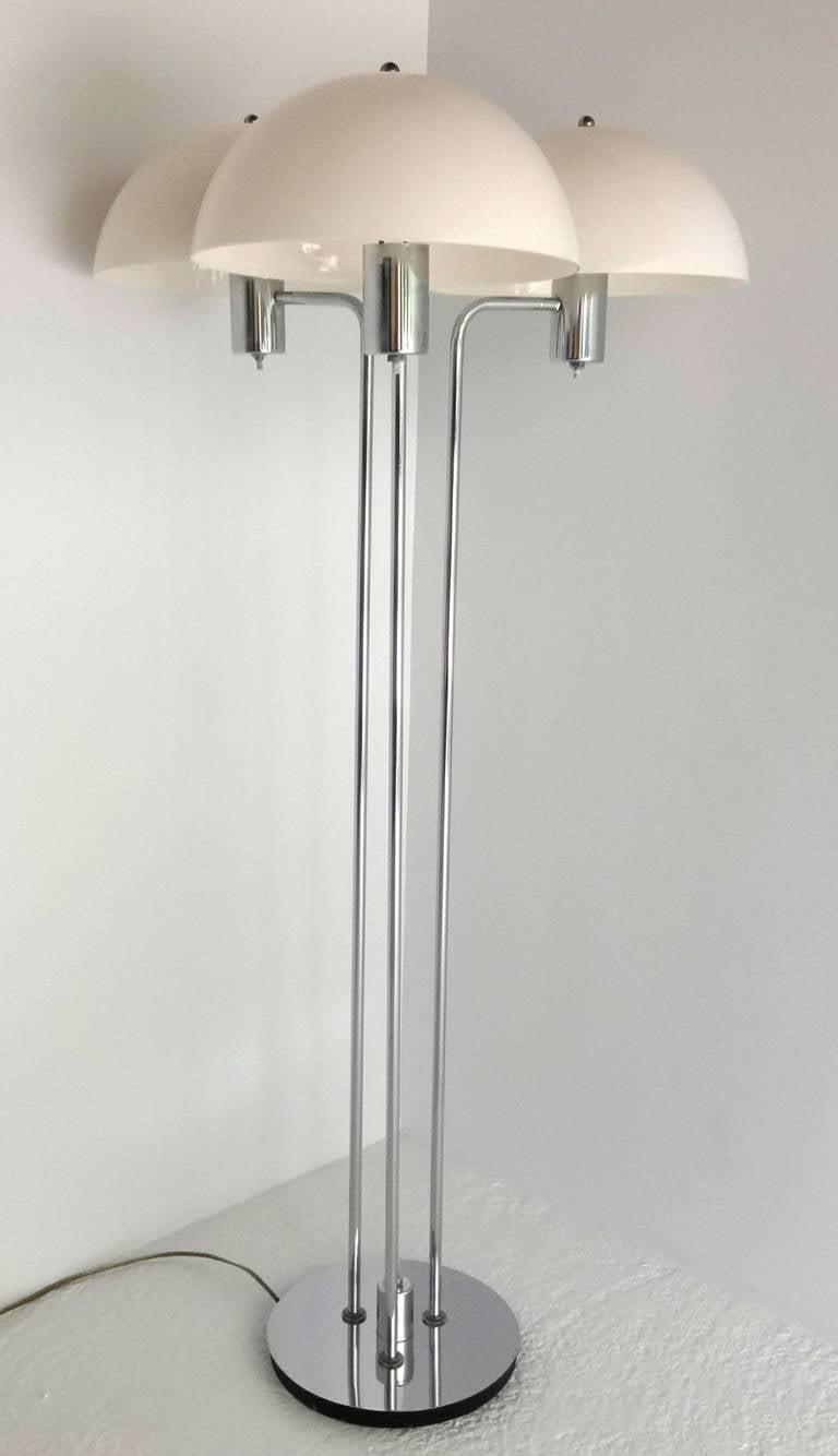 Mid Century Modern Triple Chrome Floor Lamp For Sale At