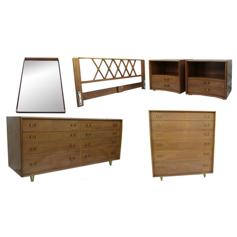 Paul frankl mid century modern bedroom set dresser end Century bedroom furniture