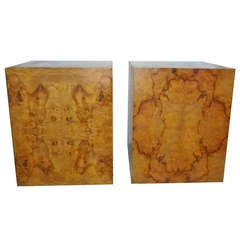 Milo Baughman Burl Wood Side End Tables