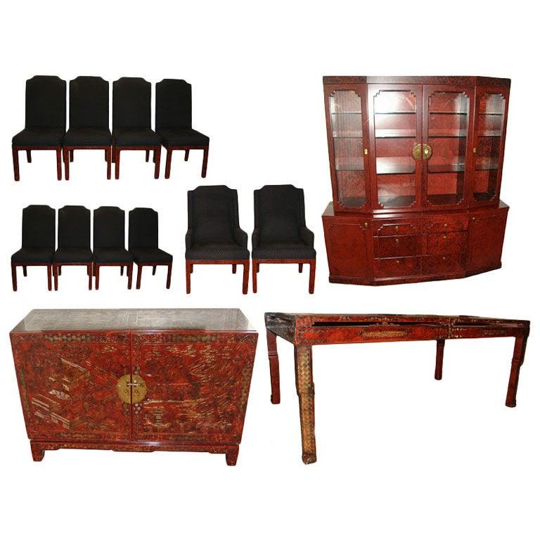 john widdicomb asian modern dining set table chairs buffet