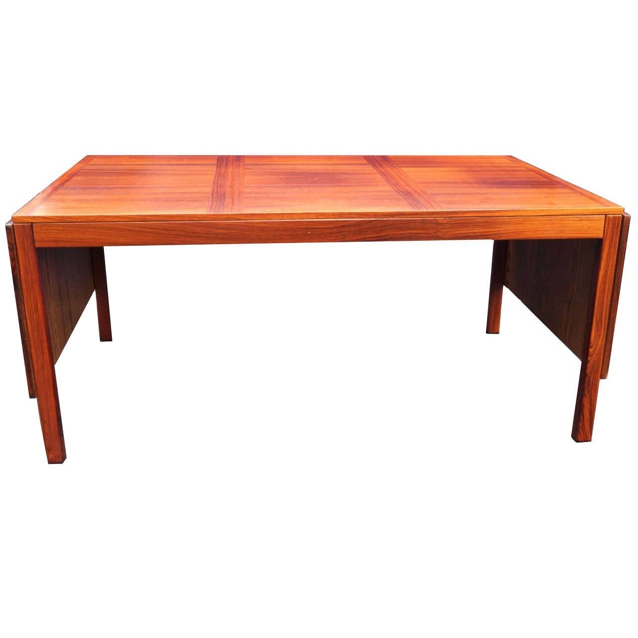 Kai Winding Mid Century Danish Modern Rosewood Drop Leaf Dining Table 1
