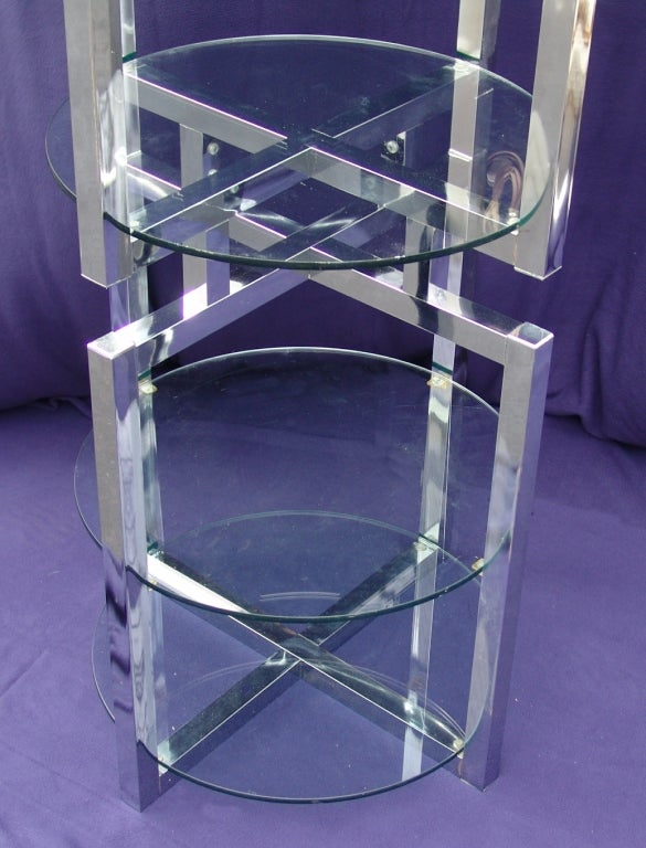 Mid Century Modern Chrome Glass Etagere Floor Lamp At 1stdibs