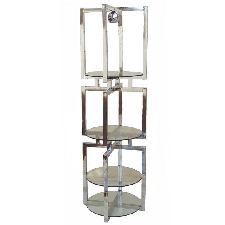 mid century modern chrome glass etagere floor lamp at 1stdibs. Black Bedroom Furniture Sets. Home Design Ideas