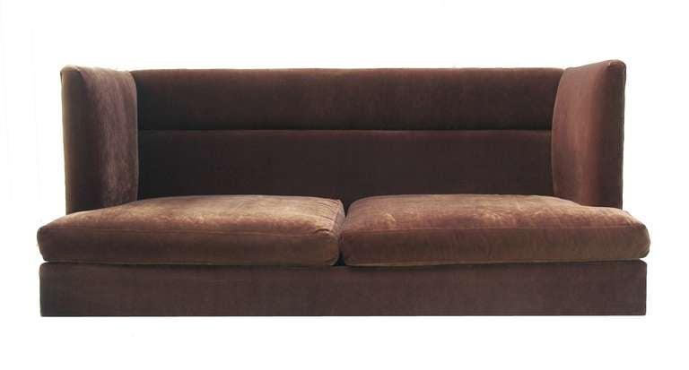 Rare High Back Shelter Sofa By Milo Baughman For Thayer Coggin.