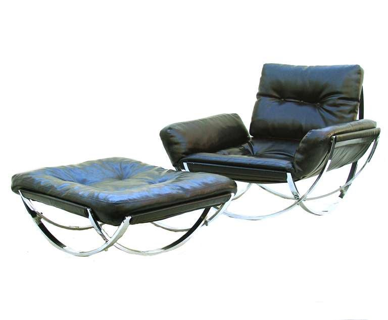 Stendig Mid Century Modern Leather Lounge Chair And Ottoman 3