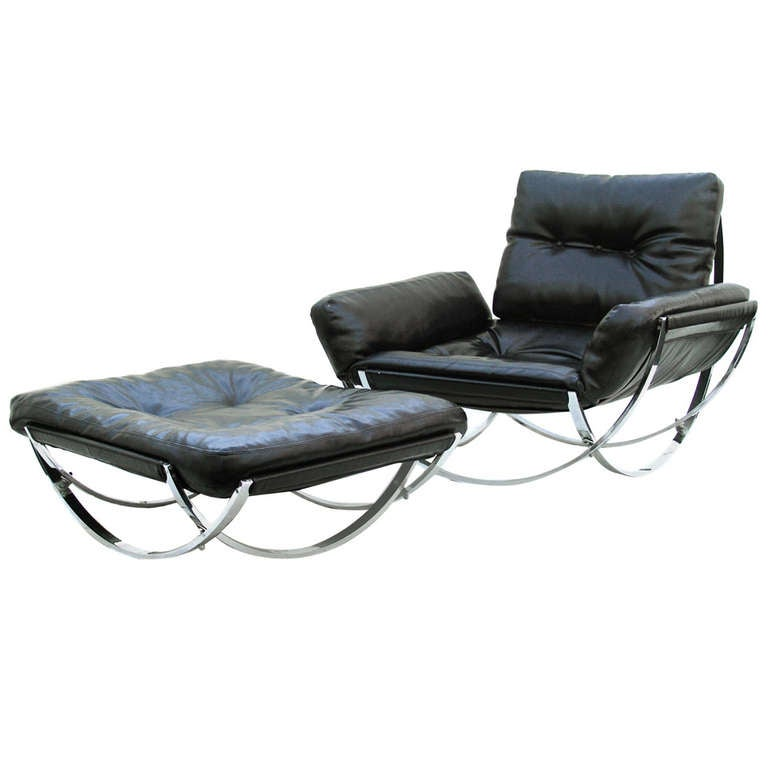 Stendig mid century modern leather lounge chair and for Mid century modern leather chairs