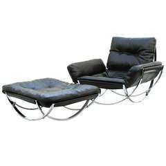 Stendig Mid-Century Modern Leather Lounge Chair and Ottoman
